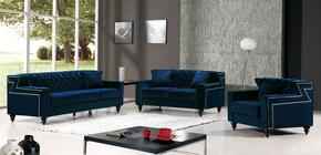 Harley Collection 739435 3-Piece Living Room Sets with Stationary Sofa, Loveseat and Living Room Chair in Navy