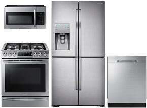 "4 Piece Kitchen Package With NX58H9500WS 30"" Slide-in Gas Range, ME21H9900AS Over the Range Microwave Oven, RF28HDEDBSR 36"" French Door Refrigerator and DW80J7550US 24"" Built In Dishwasher"