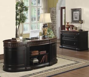 "8009214 Package including 72"" Nicolas Traditional Oval Executive Double Pedestal Desk and Nicolas Traditional File Cabinet in Dark Wood Finish"