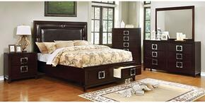 Balfour Collection CM7385CKSBDMCN 5-Piece Bedroom Set with California King Storage Bed, Dresser, Mirror, Chest and Nightstand in Brown Cherry Finish