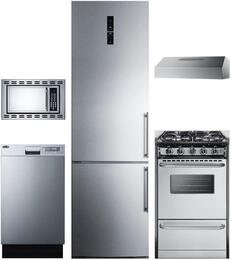 "5-Piece Stainless Steel Package with FFBF181ESLHD 24"" Bottom Freezer Refrigerator, H1618SS 18"" Under Cabinet Convertible Hood, OTR24 24"" Microwave Oven, and DW18SS2 18"" Fully Integrated Dishwasher"