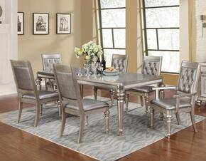 Danette 106471SA 7 PC Dining Room Set with Dining Table + 4 Side Chairs + 2 Armchairs in Metallic Platinum Color