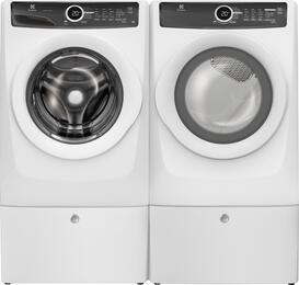 "White Front-Load Laundry Pair with  EFLW417SIW 27""  Washer, EFME417SIW 27"" Electric Dryer and 2 EPWD157SIW Pedestals"