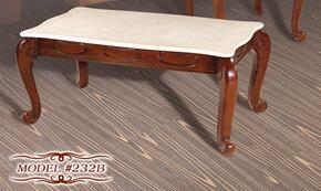232BCESET Mahogany Finish Beige Marble Coffee Table + 2 End Tables