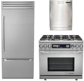 """3-Piece Stainless Steel Kitchen Package with DYF36BFTSR 36"""" Bottom Freezer Refrigerator, ER36DCLP 36"""" Freestanding Dual Fuel Range, and a free RDW24S 24"""" Built In Fully Integrated Dishwasher"""