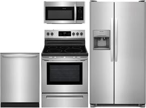 "4-Piece Stainless Steel Kitchen Package With FFSS2615TS 36"" Side by Side Refrigerator, FFEF3054TS 30"" Electric Freestanding Range, FFMV1645TS 30"" Over-the-Range Microwave and FFID2426TS 24"" Fully Integrated Dishwasher"