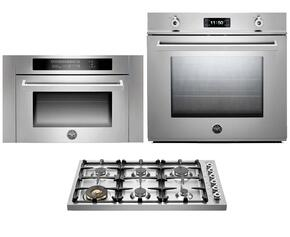 "Professional F30PROXT 30"" Single Electric Wall Oven 3 Piece Stainless Steel Kitchen Package with DB36600X 36"" Gas Cooktop and SO24PROX Built In Microwave"