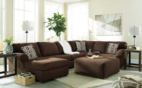 Jayceon 64904-16-34-67-08 2-Piece Living Room Set with Left Arm Facing Chaise Sectional and Ottoman in Java Brown