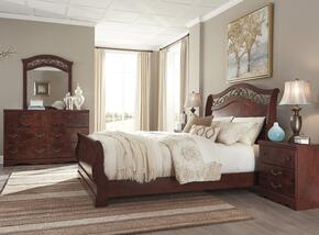 Delianna Queen Bedroom Set with Sleigh Bed, Dresser, Mirror and Single Nightstand in Reddish Brown