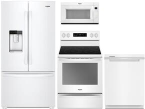 "4-Piece White Kitchen Package with WRF954CIHW 36"" French Door Refrigerator, WFE745H0FH 30"" Electric Range, WDTA50SAHW 24"" Fully Integrated Dishwasher and WMH32519FW 30"" Over-the-Range Microwave"