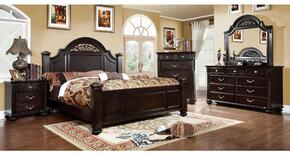 Syracuse Collection CM7129KBDMCN 5-Piece Bedroom Set with King Bed, Dresser, Mirror, Chest and Nightstand in Dark Walnut Finish