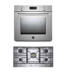 "Professional 2-Piece Stainless Steel Kitchen Package with F30PROXE 30"" Single Electric Wall Oven and PM36500X 36"" Gas Cooktop"