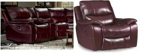 SS624 3-Piece Living Room Set with Power Motion Sofa, Glider Recliner and Loveseat in Red Wine with Black Trim
