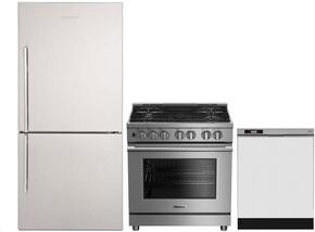 "3-Piece Kitchen Package with BRFB1812SSN 30"" Bottom Freezer Refrigerator, BGRP34520SS 30"" Freestanding Gas Range, and a free DWT25200SSWS 24"" Built In Full Console Dishwasher in Stainless Steel"