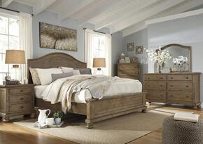 Trishley King Bedroom Set with Panel Bed, Dresser, Mirror, 2x Nightstands and Chest in Light Brown