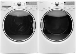 "White WFW9290FW 27"" Front Load Washer with WGD92HEFW 27"" Gas Dryer"