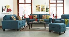 Sagen 9390238SET4PC 4-Piece Living Room Set with Sofa, Loveseat, Chair and Ottoman in Teal