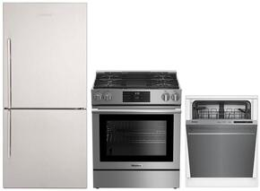 """3-Piece Kitchen Package with BRFB1822SSN 30"""" Bottom Freezer Refrigerator, BGRP34520SS 30"""" Freestanding Gas Range, and DWT56502SS 24"""" Fully Integrated Dishwasher in Stainless Steel"""