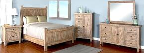 Durango Collection 2307WBQBDM2NC 6-Piece Bedroom Set with Queen Bed, Dresser, Mirror,  2 Nightstands and Door Chest in Weathered Brown Finish