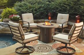 Predmore Collection P324T4C 5-Piece Outdoor Patio Set with Round Fire Pit Table and 4 Swivel Chairs in Beige and Brown