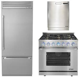 "3-Piece Stainless Steel Kitchen Package with DYF36BFTSR 36"" Bottom Freezer Refrigerator, RNRP36GSLPH 36"" Freestanding Gas Range, and a free RDW24S 24"" Built In Fully Integrated Dishwasher"