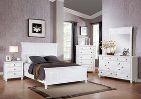 Merivale 22414CK5PC Bedroom Set with California King Size Bed + Dresser + Mirror + Chest + Nightstand in White Color