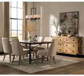 Antonelli Collection 106461B 8 PC Dining Room Set with Dining Table + 4 Beige Color Side Chairs + Accent Cabinet in Natural and Dark Bronze Finish