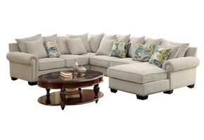 Skyler II Collection CM6156CT4642  Living Room Set with Ivory Sectional Sofa and Oval Coffee Table