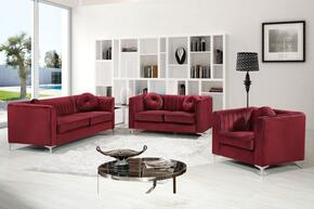 Isabelle Collection 6123PCSTLARMKIT4 3-Piece Living Room Sets with Stationary Sofa, Loveseat and Living Room Chair in Burgundy