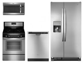 "4 Piece Kitchen Package With WFG515S0ES 30"" Gas Freestanding Range, WMH31017FS Over the Range Microwave Oven, WRS325FDAM 36"" Side by Side Refrigerator and WDF520PADM 24"" Built In dishwasher"