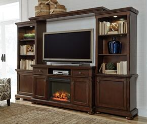 "Porter W697LGWALL01 Entertainment Center with 62"" Wide Extra Large TV Stand, Left Pier, Right Pier, Bridge and W100-01 Fireplace Insert in Rustic Brown Finish"