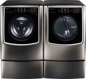Black Stainless Steel Front Load Laundry Pair with WM9500HKA Washer, DLEX9500K Electric Dryer and 2 WDP5K Pedestal