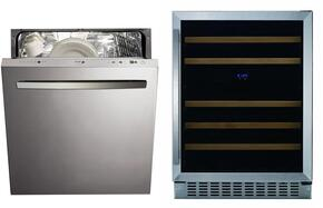 "2 Piece Stainless Steel Kitchen Package WC-46DZ 24"" Beverage Center and LFA-75IT Dishwasher"