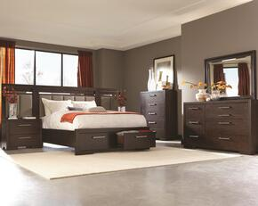 Berkshire Collection 204460KW3PC 6 PC Bedroom Set with California King Size Bed + Dresser + Mirror + Chest + Nightstand + Left and Right Piers in Bitter Chocolate Finish