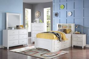 Mallowsea 30420TSET 5 PC Bedroom Set with Twin Size Bed + Dresser + Mirror + Chest + Nightstand in White Finish