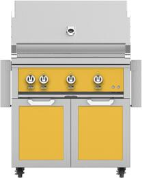 "36"" Freestanding Natural Gas Grill with GCD36YW Tower Grill Cart with Double Doors, in Sol Yellow"
