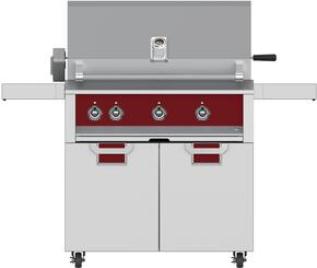 "Aspire Series 36"" Liquid Propane Grill with ECD36RD Tower Grill Cart with Two Doors, in Matador Red"