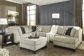 Beckendorf Collection 1500466-34-17-08 4 PC Sectional Sofa Set with Ottoman + Left Arm Facing Sofa + Armless Loveseat + Right Arm Facing Corner Chaise in Chalk Color