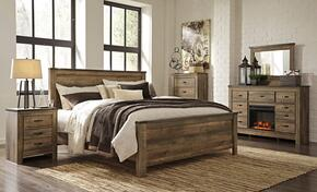 Trinell King Bedroom Set with Panel Bed, Dresser, Mirror, Nightstand and Chest in Brown