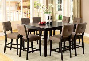Bay Side II Collection CM3311PT8PC 9-Piece Dining Room Set with Square Counter Height Table and 8 Counter Height Side Chairs in Espresso