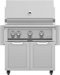 "36"" Freestanding Natural Gas Grill with GCD36 Tower Grill Cart with Double Doors, in Steeletto Stainless Steel"