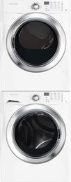 "White Front Load Laundry Pair with FFFS5115PW 27"" Washer, FFSG5115PW 27"" Gas Dryer and STACKIT4X Stacking Kit"