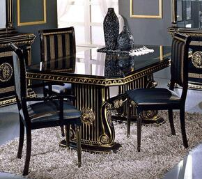 VGACROSELLA-DT-2CH Modrest Rosella Italian Classic Rectangular Dining Table + 2 Side Chairs + 1 Arm Chair in Black Gloss Finish