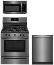 "3-Piece Black Stainless Steel Kitchen Package With FFGF3054TD 30"" Gas Range, FFMV1645TD 30"" Over-the-Range Microwave and FFID2426TD 24"" Built In Dishwasher"