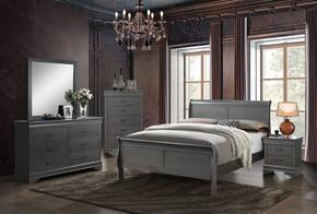 Louis Philippe III Collection CM7866GYFBEDSET 5 PC Bedroom Set with Full Size Sleigh Bed + Dresser + Mirror + Chest + Nightstand in Grey Finish