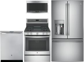"GE Profile Stainless Steel 4-Piece Kitchen Package With PFE28PSKSS 36"" French Door Refrigerator, PGB911SEJSS 30"" Freestanding Gas Range, PVM9005SJSS  Over the Range Microwave Oven , and PDT845SSJSS 24"" Built In Fully Integrated Dishwasher"
