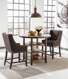 """Sydney Collection DR-427-CT2DBBS Moriann 3-Piece Dining Room Set with Round Counter Dining Table and Two 24"""" High Upholstered Barstools in Dark Brown Finish"""