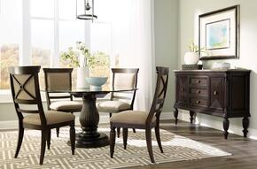 Jessa 4980RDTS4SC 6-Piece Dining Room Set with Round Dining Table, Sideboard and 4 Side Chairs in Dark Brown Finish