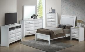 G1570ATBSET 6 PC Bedroom Set with Twin Size Bed + Dresser + Mirror + Chest + Nightstand + Media Chest in White Finish