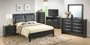 G1500AQBCHDMNTV 6 Piece Set including Queen Size Bed, Chest, Dresser, Mirror, Nightstand and Media Chest in Black